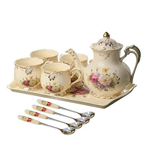 english tea set for adults YOLIFE Flowering Shrubs Ivory Ceramic Tea Set,Porcelain Tea Cups Set,Tea Party Service Set for Adults