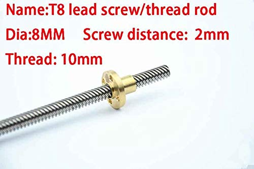 1pc Lead Screw Dia 8MM Screw Distance 2mm Thread 10mm Length 100mm Trapezoidal Spindle Screw With Copper Nut Fit For RepRap 3D Printer
