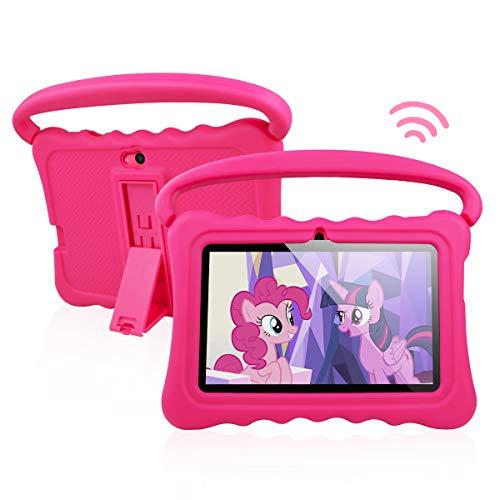 Tablet PC para niños Android 8.1 OS Tabletas de pantalla Full HD de 7 pulgadas para niños 1 GB de RAM 16 GB de almacenamiento Quad-Core 1.3Hz WiFi Tablet con nuevo estuche suave y a prueba de niños (Rosa)