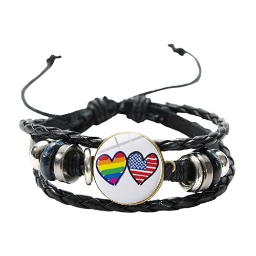 Pulsera de dos corazones con diseño de bandera de arco iris, amor es amor, gay, lesbiana, orgullo LGBT, pulseras ajustables de múltiples capas para hombres y mujeres