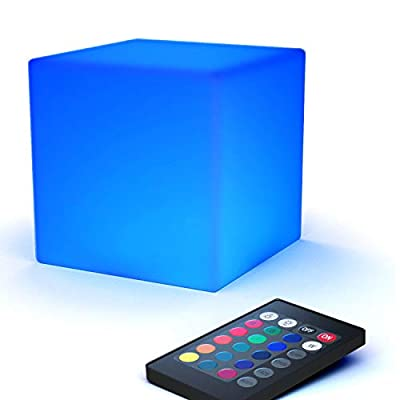 LOFTEK LED Light Cube: 7-inch RGB Cube Light with Remote, 16 Colors Changing and 4 Level Dimming Cool Mood Lamp, Waterproof and Rechargeable Cordless Bedside Lamp, Perfect for Kids Nursery and Toys