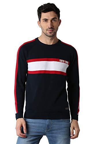 Peter England Men's Cotton Sweater (PCSWCRGF224032_Medium Blue_M)