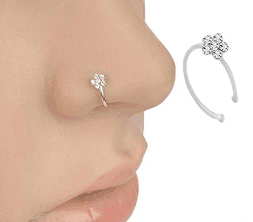 Crasy Shop - Piercing per naso da donna, a cerchio; sottile (10 mm) e alla moda, con motivo floreale e strass; per feste, balli, matrimoni Silver