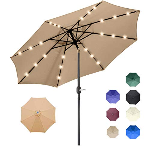 9FT Solar 24 LED Lighted Outdoor Patio Umbrella with 8 Ribs/Tilt Adjustment and Crank Lift System (Light Tan)
