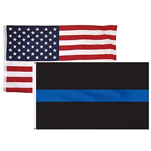 2 Pack 3x5 Feet Thin Blue Line USA American Flag Poilce Honoring Law Enforcement Officers Flags Vivid Color and UV Fade Resistant Polyester with Brass Grommets By HomeSmith