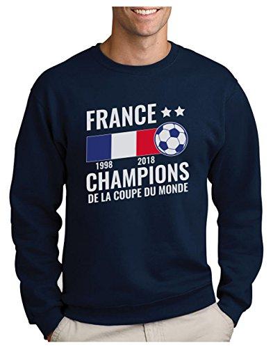 France - Champions Coupe du Monde de Football 2018 Sweatshirt Homme Large Marine