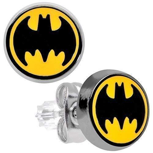 Con licencia oficial de acero inoxidable de 9 mm con el Logo de Batman pendientes del perno prisionero