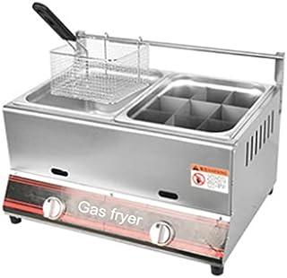 Friteuse à gaz Commerciale, friteuse à Double Cylindre en Acier Inoxydable friteuse à gaz Multifonction Facile à nettoye o...