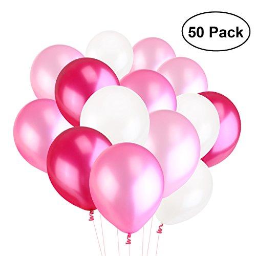 Perle Latex Luftballons für Party Luftballons Spielzeug für Kinder 50 Stück (weiß-rosa Licht Rosa Pflaume)