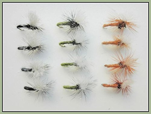 Troutflies UK Ltd Klinkhammer Forellenangeln Fliegen, 12Stück, olive, schwarz & tan, Größen wählbar