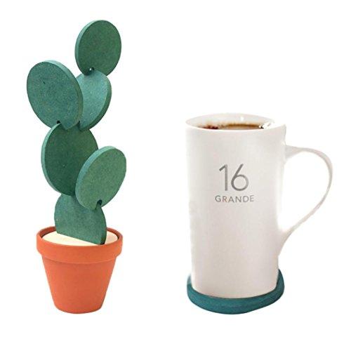 YJYDADA Coasters,Creative DIY Cactus Cup Holder Storage Anti-slip insulation Coaster