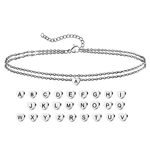 Persönlichkeit 26 Buchstaben Doppellagiges Fußkettchen Einfacher Strand Edelstahl Liebe Anhänger Fuß Ornament Geburtstag Party Geschenk für Frauen Mädchen