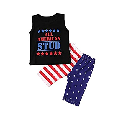 Independence Day Infant Baby Boy Summer Clothes Sleeveless T-Shirt Top American Flag Print Shorts Outfit Set (Stud, 12-18M)