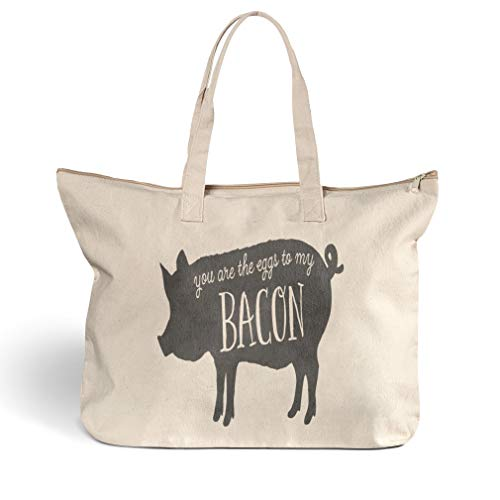Canvas Beach Tote You Are The Eggs to My Bacon Animals Shopping Bags Zippered Design Only