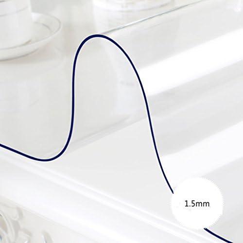 Europ che Tischdecke Rechteck PVC Tischdecke, tranSpaßente Weiße wasserdichte Esstisch Tischdecke Kunststoff Tisch Matten Kristallplatte Öl-proof Kaffee Mats ( Farbe   TranSpaßent 1.5mm , Größe   9015cm )