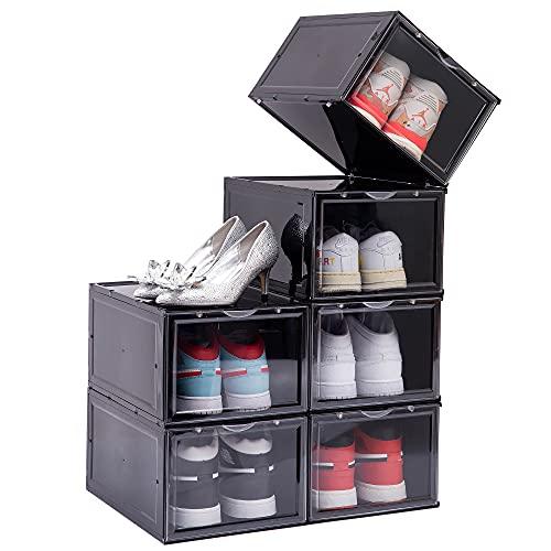 클렘테 슈 박스 6개 슈 저장 박스 클리어 플라스틱 스택블 자성 클리어 도어가 있는 슈 컨테이너 스니커 디스플레이용 드롭 프런트 슈 박스 쉬운 조립 미국 사이즈 12(블랙)