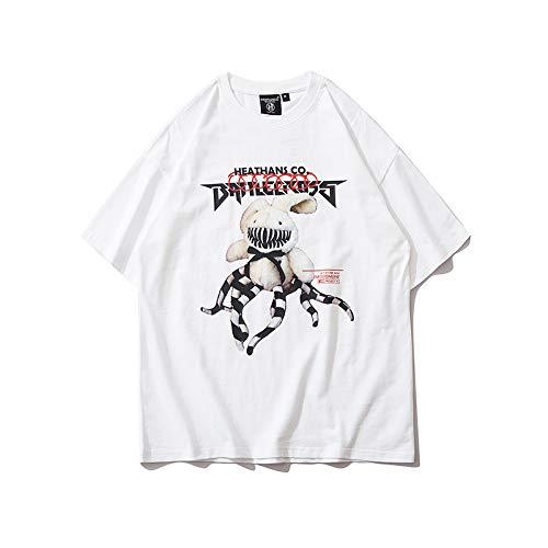 DREAMING-Rabbit 100 Sudadera De Manga Corta De Verano con Estampado Suelto Camiseta De Algodón con Cuello Redondo Top Camisa De Pareja para Hombres Y Mujeres White Small