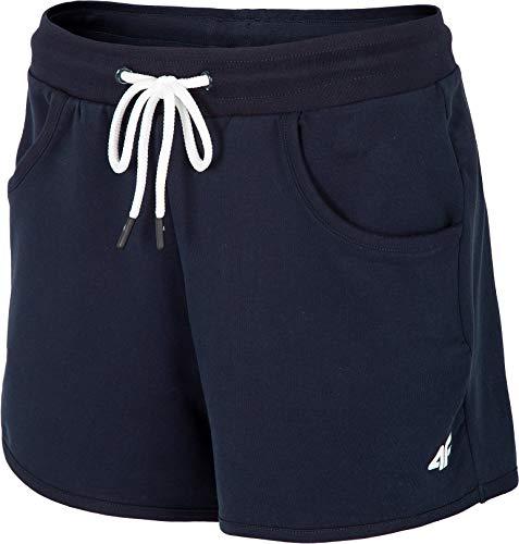 4F Pantalones cortos de entrenamiento para mujer, para entrenamiento, gimnasio, yoga, fitness, jogging, azul oscuro, S
