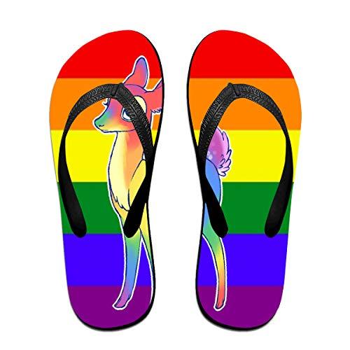 Iop 90p Oh Deer I'm Queer Flip Flops Badelatschen Strandsandalen Poolschuhe, PVC, Schwarz, Large