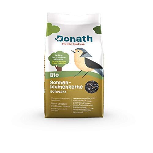 Donath BIO Zonnebloempitten Zwart - een vitaminebom met bijzonder hoog oliegehalte - waardevol vogelvoer voor alle seizoenen - geproduceerd in Zuid-Duitsland
