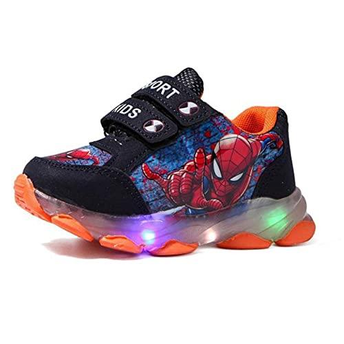 QIAOPING Zapatillas para niños Zapatillas para Correr con diseño de Spiderman de Dibujos Animados para niños luz LED Suela Suave Transpirable,Orange-22EU