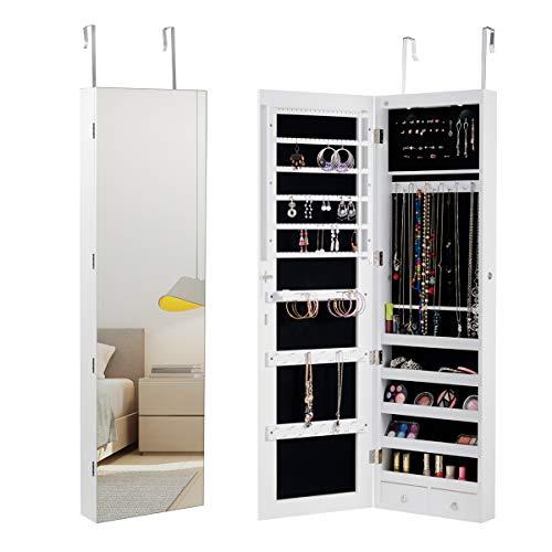 GOPLUS Schmuckschrank, Spiegelschrank, Schmuckregal hängend mit Spiegel, 120 cm hoch, mit LED Beleuchtung, Farbewahl, für Ringe, Ohrringe, Halsketten, Armbänder (Weiß)