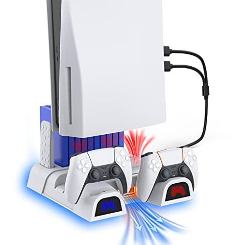 NexiGo Soporte Vertical con Iluminación LED Ventiladores de Refrigeración y Estación de Carga de Dontrolador Dual para Consola PS5, Soporte Multifuncional, 10 Ranuras para Juegos, Blanco