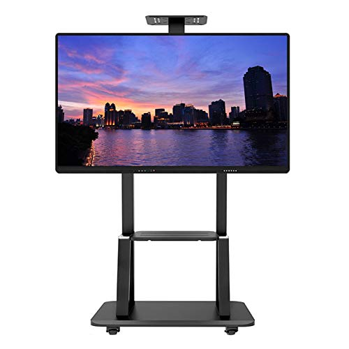 ERRU Business Rolling TV Stand for 32-75 Inch LCD LED Plasma Flat Screen, Adjustable TV Carts on Wheels with 2 Tray, Load 120kg