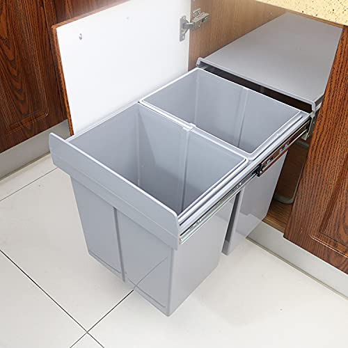 ybaymy Cubo de basura empotrable – Cubo de basura extraíble Cocina 20 L + 20 L Cubo de basura Sistema de residuos para armario inferior Separación de residuos