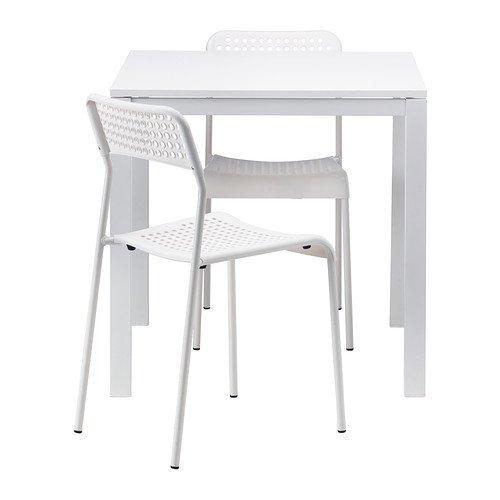 IKEA MELLTORP / ADDE - Tisch und 2 Stühle, weiß - 75 cm