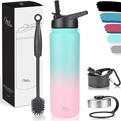 Milu Edelstahl Trinkflasche 500ml, 750ml, 1L (+3 Deckel) - Thermosflasche mit Strohhalm, Isolierte Wasserflasche, Auslaufsichere Isolierflasche doppelwandig, Kohlensäure geeignet (Mint Rosa, 750ml)