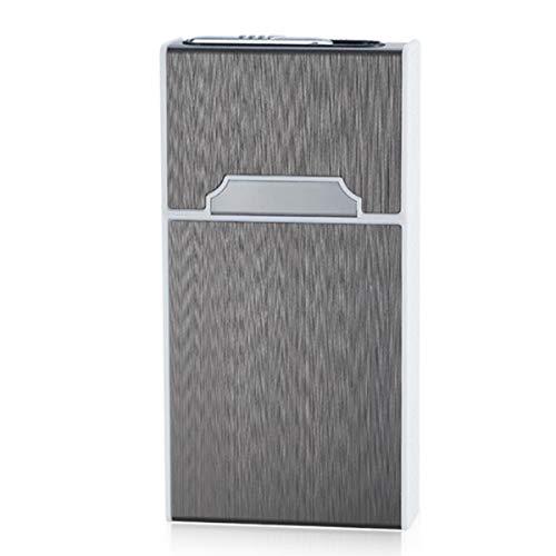 ENWAN ライター付きタバコケース 20本収納 電熱式 無火 防風 メンズ レディース 充電可能 シガレットケース おしゃれ (スリムロングサイズ(MEVIUS Superslim 100等対応), ブラック)