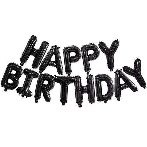 DIWULI, Happy Birthday Luftballon, Folien-Ballon schwarz, Folien-Luftballon, Geburtstagsballons, Buchstabenballons Banner Geburtstag, Kindergeburtstag Junge Mädchen, Party, Dekoration, Geschenk-Deko