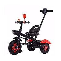 ベビーカー 光 子供用自転車 プッシュハンドル+シートベルト 三輪車 1-2-3-4-5歳の子供のおもちゃ (Color : Black)