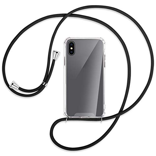 mtb more energy Collar Smartphone para Apple iPhone XS/iPhone X (5.8'') - Negro - Funda Protectora ponible - Carcasa Anti Shock con Cuerda