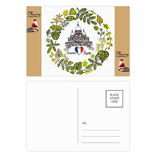 Basilique Parijs Frankrijk Illustratie Kerstman Gift Ansichtkaart Thanks Card Mailing 20 stks
