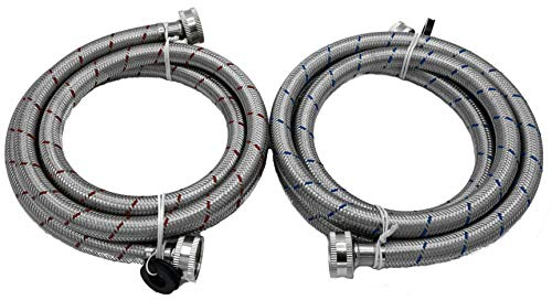KILAUAN Washing Machine Hose Stainless Steel Braided Water Supply Line - 10 FT Burst Proof - With Red & Blue Color Coded