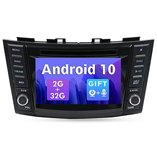 SXAUTO Android 10 Autoradio Compatible con Suzuki Swift ERTIGA (2011-2017) - [2G+32G] - Gratis Cámara Trasera - 2 DIN 7 Pulgada - Soporte Dab 4G WLAN BT5.0 Carplay Volante Android Auto Mirrorlink