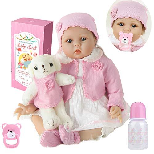 Realistica 55 cm Bambola Reborn Bambina Bambole Reborn Femmina Bambolotti di Silicone La Bambola Indossa Un Maglione Rosa e Un Vestito Bianco