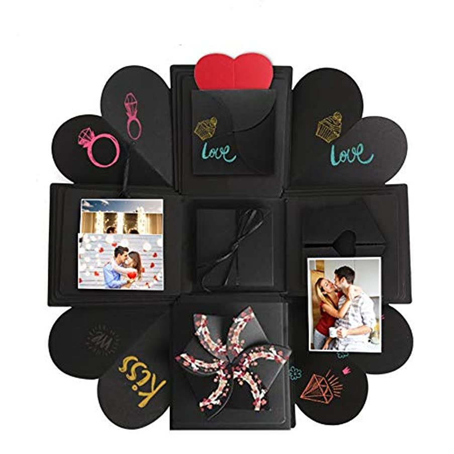 Somei DIY Creative Explosion Gift Box Kit Including Instruction, Surprise Scrapbook Photo Album for Propose Birthday Wedding Valentines Anniversary for Her Him Best Friend, Black