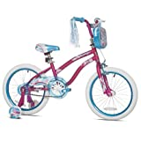 Sturdy and Stylish Kent 18' Mischief Girls Bike,With Translucent Blue Chain Guard,Handlebar Mounted Tote Bag and Padded Seat,Great Starter Bike for Young Lady,Pink,Great Gift Idea