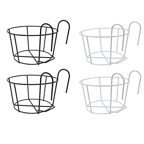 Cabilock 4 peças de cestas para pendurar trilhos de metal para vaso de flores suporte de ferro artístico para pendurar cestas de pendurar em vaso resistente 25 cm (2 peças pretas 2 peças brancas)
