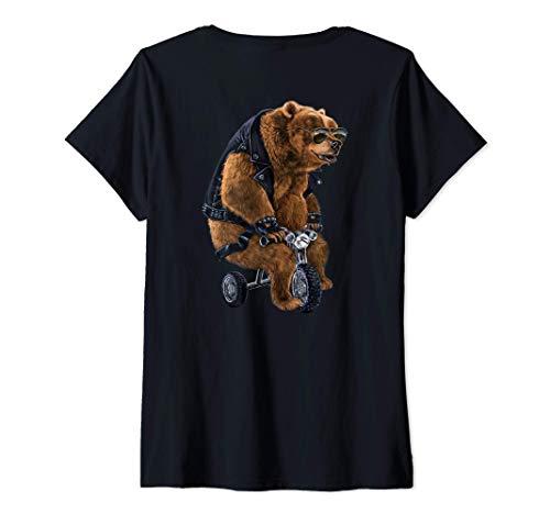 Mujer Oso punk montado en un mini triciclo Camiseta Cuello V
