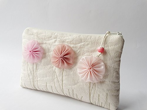 Champagne Clutch with Pink Flowers, Flower Girl Wedding Gift Bag, Girl Christmas Gift Purse