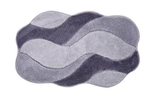 Grund Badteppich 100% Polyacryl, ultra soft, rutschfest, ÖKO-TEX-zertifiziert, 5 Jahre Garantie, CARMEN, Badematte 70x120 cm, grau