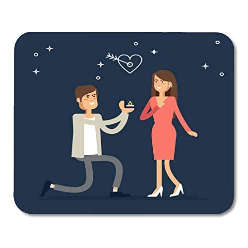Mauspads Vorschlag Angebot der Ehe Mann schlägt Frau vor, ihn zu heiraten und gibt Verlobungsring im Cartoon-Stil Mauspad für Notebooks, Desktop-Computer Büromaterial