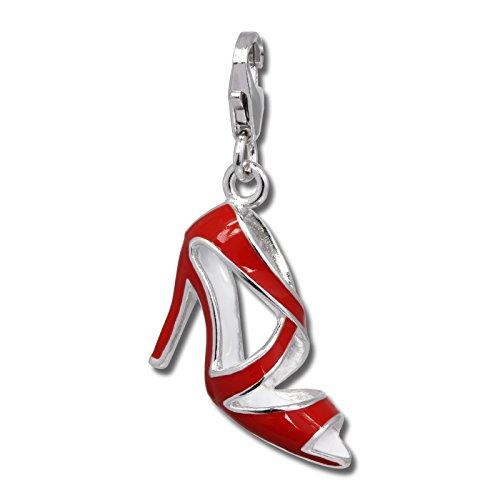 SilberDream Charms FC688 - Charm con tacco alto rosso in argento Sterling 925, anti-ossidazione, adatto per bracciali, collane e orecchini, da donna