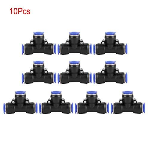 azul igual empuje conjunta 6mm negro 3 formas neum/ática en accesorios,Manguera neum/ática Push Connector para la conexi/ón r/ápida de tuber/ías de aire Wohlstand 10Pcs Air Push Quick Fittings