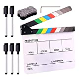 Swpeet 8Pcs 10'x12' Acrylic Film Movie Directors Clapboard Kit, Magnetic Blackboard Eraser, M3 Hex Wrench and 5Pcs Custom Pens Dry Erase Director Clapper Coating Board Slate for Director or Film Fans