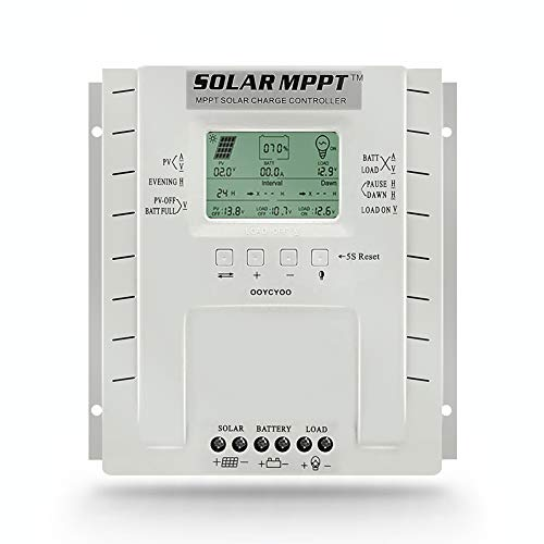 MPPT Charge Controller 60A 12V/24V Auto Max 100VDC Input,60A Solar Panel Charge Regulator with LCD Display for Lead-Acid Sealed Gel AGM Flooded Lithium Battery,with Load Timer Setting